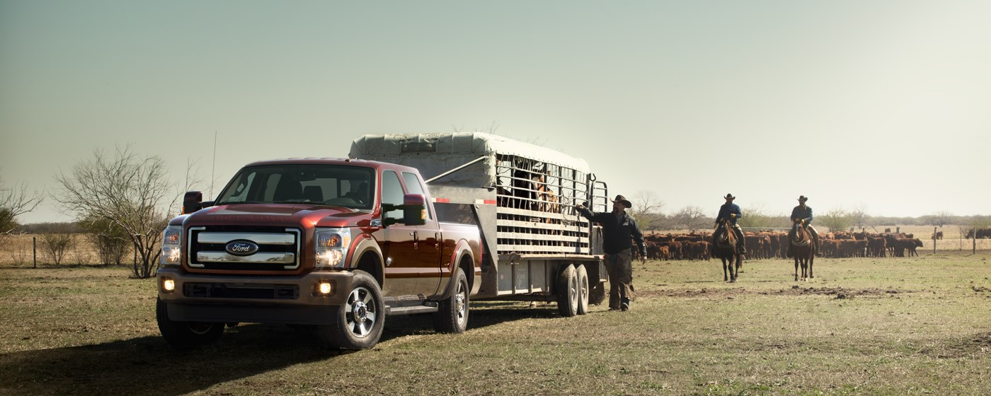 ford truck pulling horse trailer